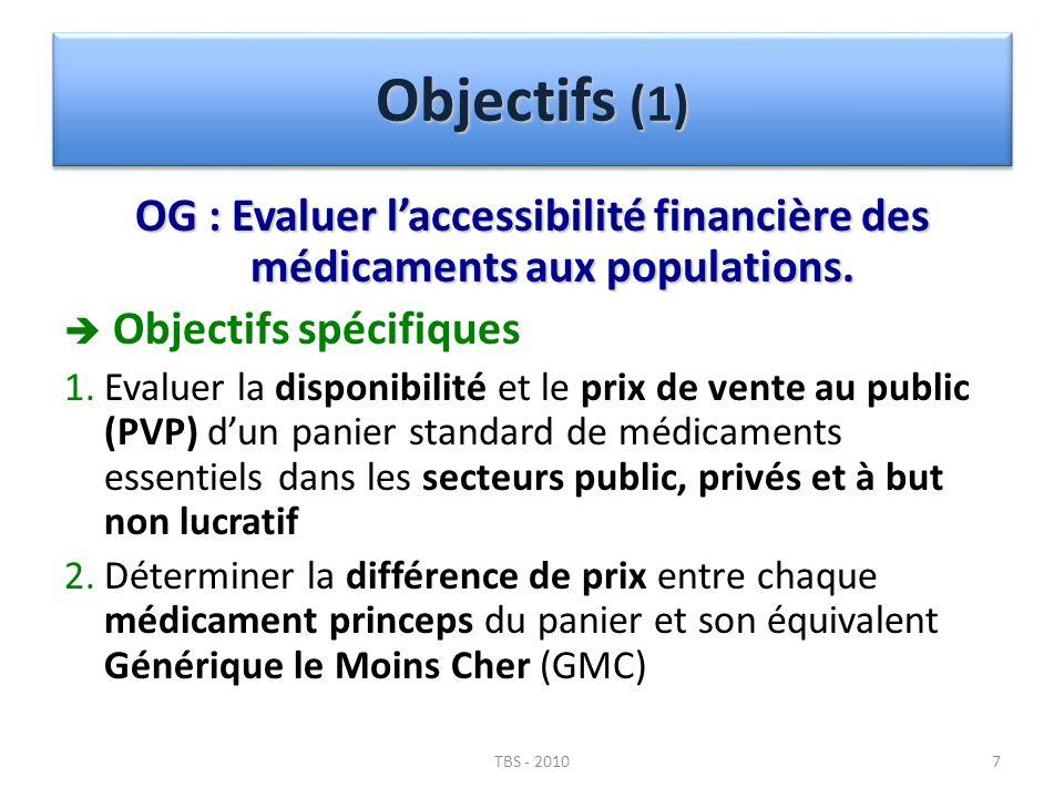 Objectifs (1) OG : Evaluer l'accessibilité financière des médicaments aux populations.  Objectifs spécifiques.