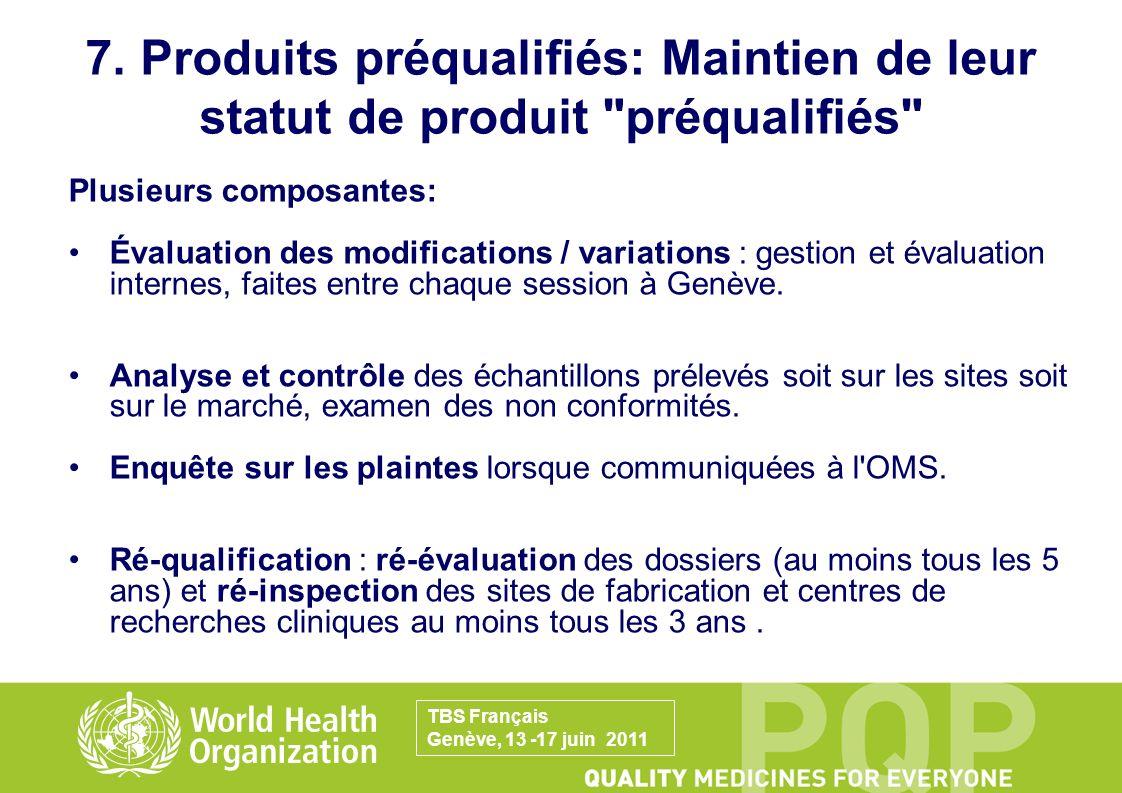 7. Produits préqualifiés: Maintien de leur statut de produit préqualifiés