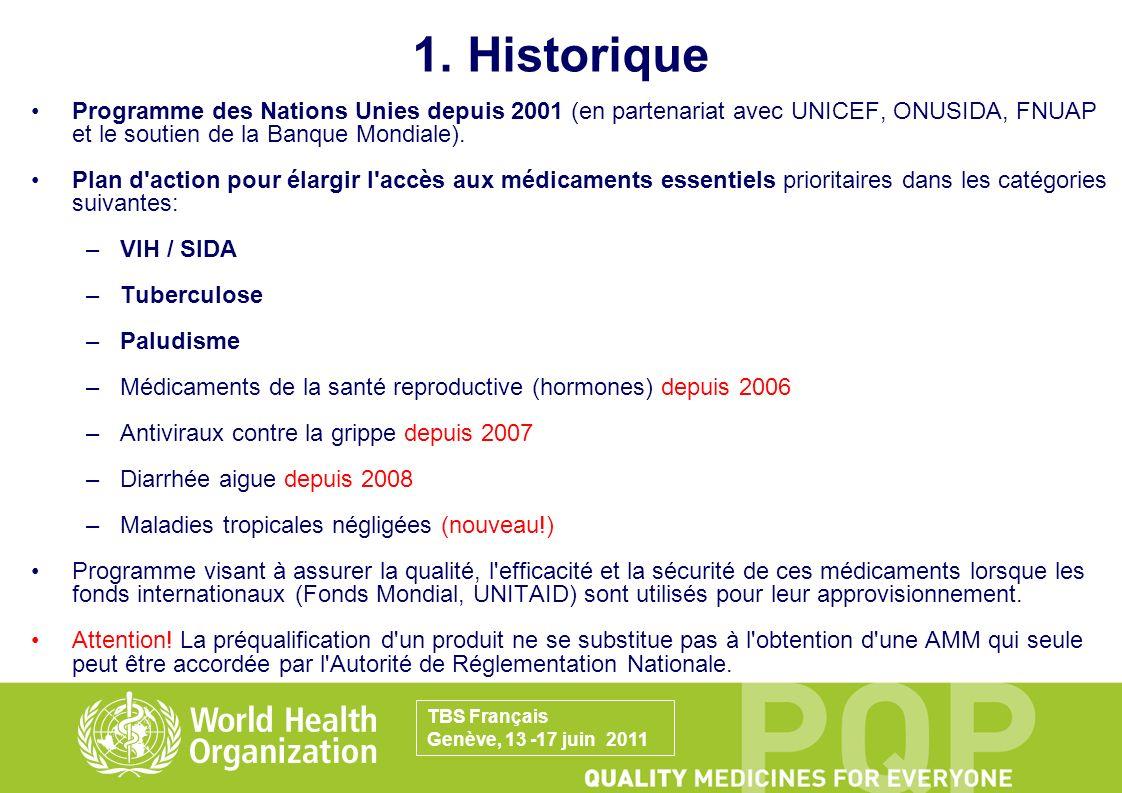1. Historique Programme des Nations Unies depuis 2001 (en partenariat avec UNICEF, ONUSIDA, FNUAP et le soutien de la Banque Mondiale).