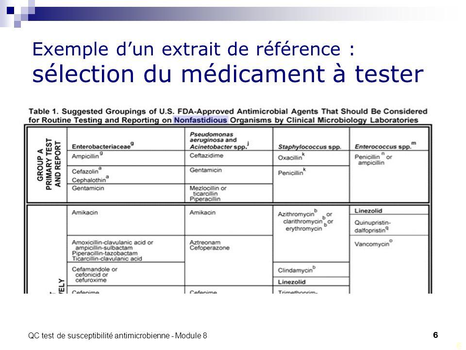 Exemple d'un extrait de référence : sélection du médicament à tester