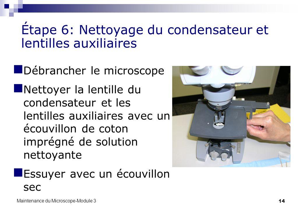 Étape 6: Nettoyage du condensateur et lentilles auxiliaires