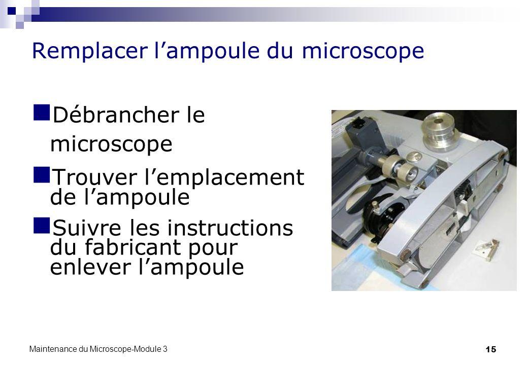 Remplacer l'ampoule du microscope