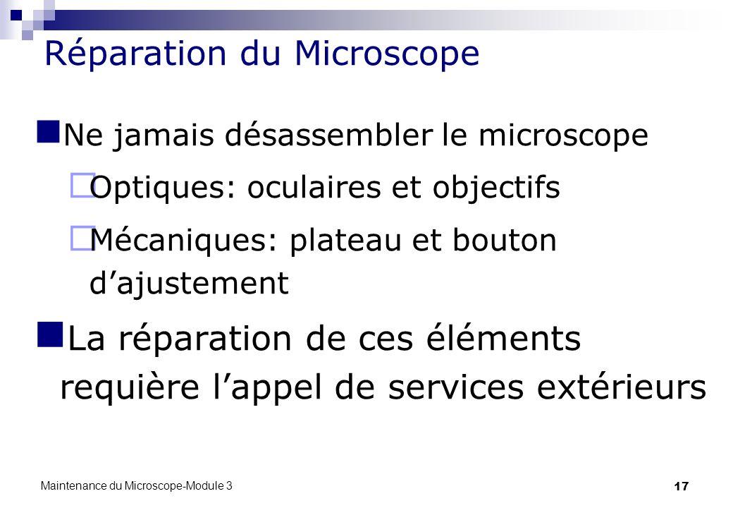 Réparation du Microscope