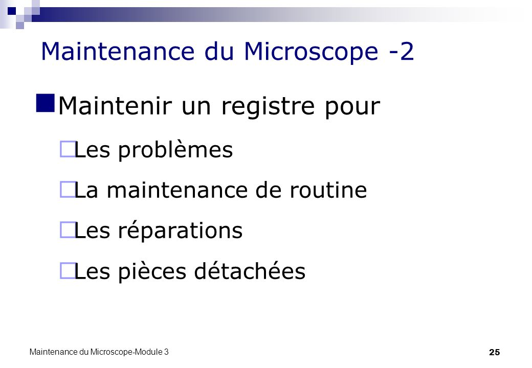 Maintenance du Microscope -2