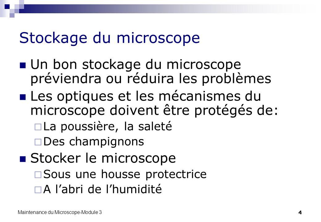 Stockage du microscope