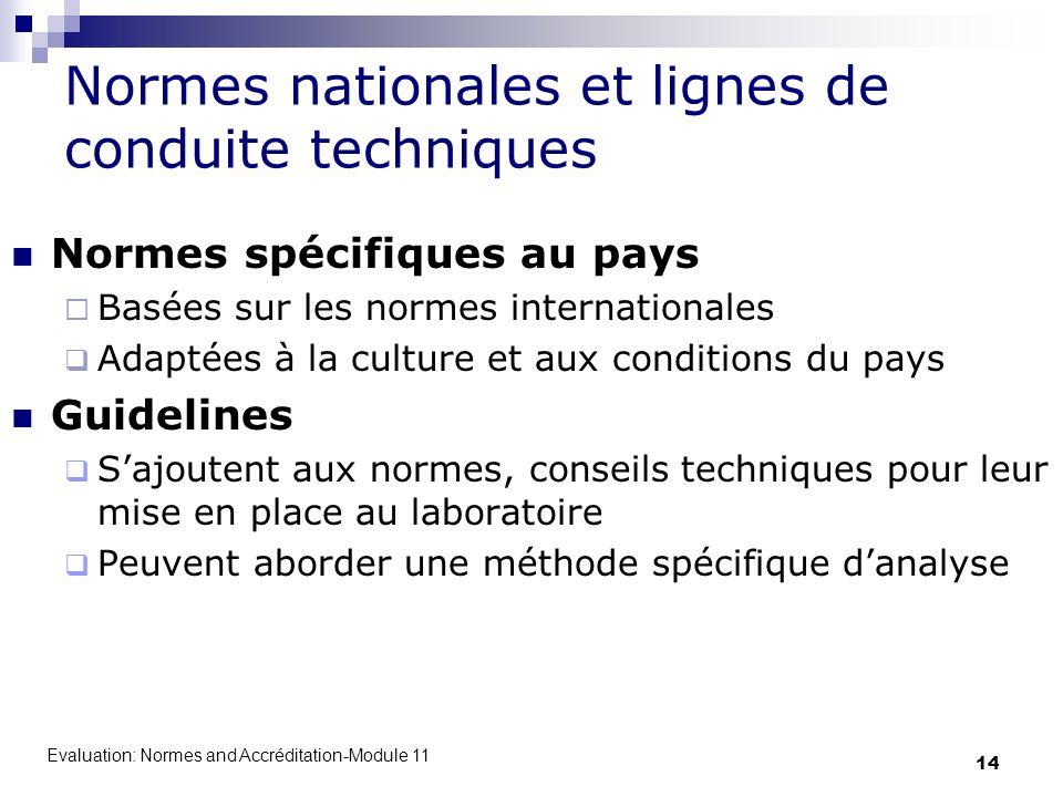 Normes nationales et lignes de conduite techniques