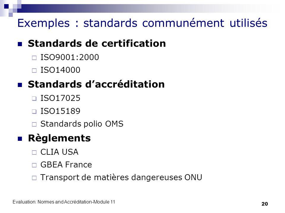 Exemples : standards communément utilisés