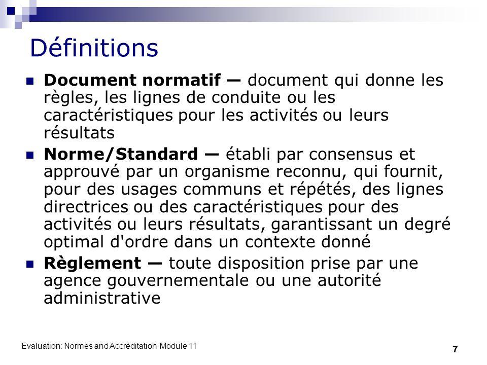 Définitions Document normatif — document qui donne les règles, les lignes de conduite ou les caractéristiques pour les activités ou leurs résultats.