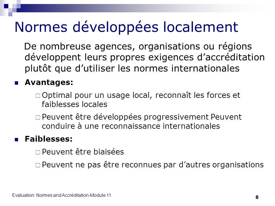 Normes développées localement