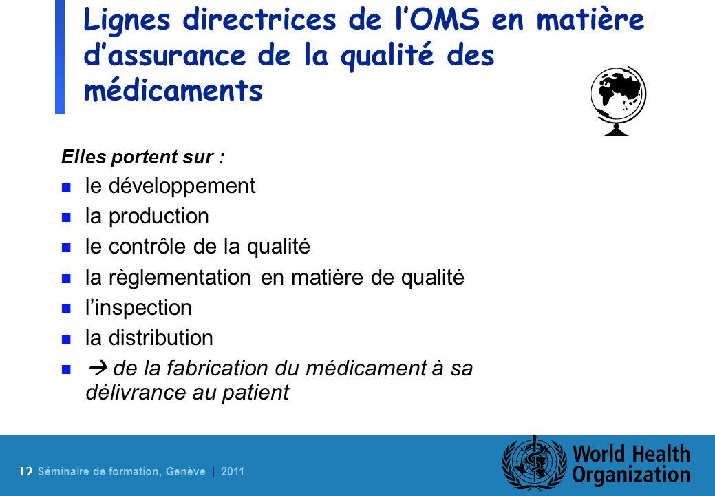 Lignes directrices de l'OMS en matière d'assurance de la qualité des médicaments