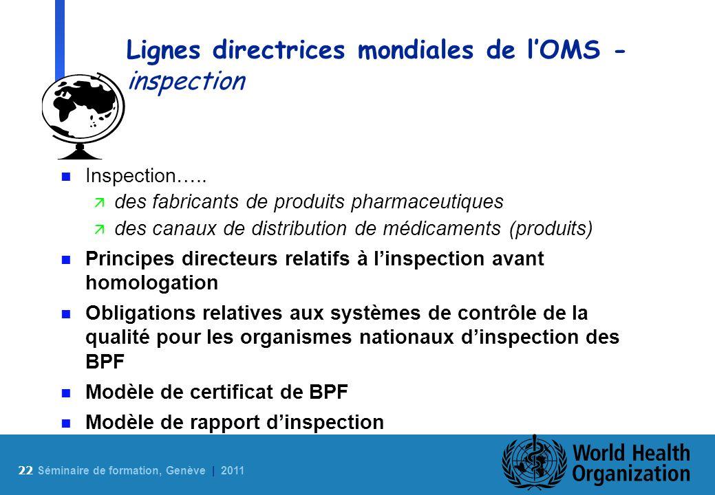 Lignes directrices mondiales de l'OMS - inspection
