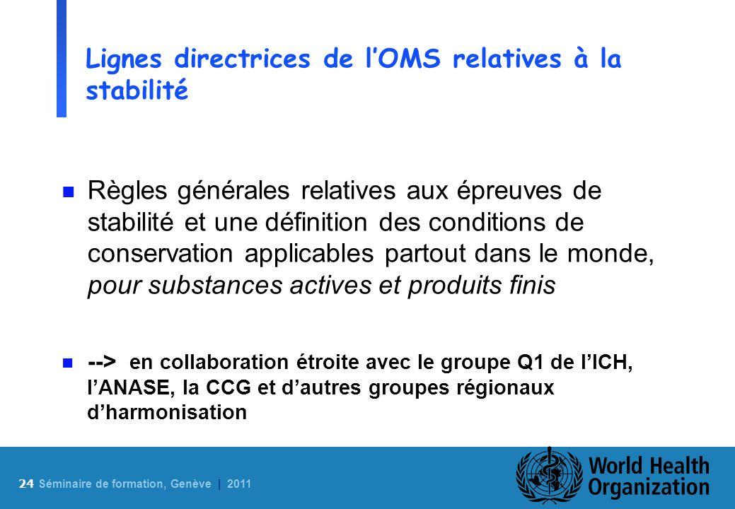 Lignes directrices de l'OMS relatives à la stabilité
