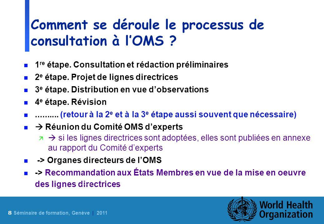 Comment se déroule le processus de consultation à l'OMS