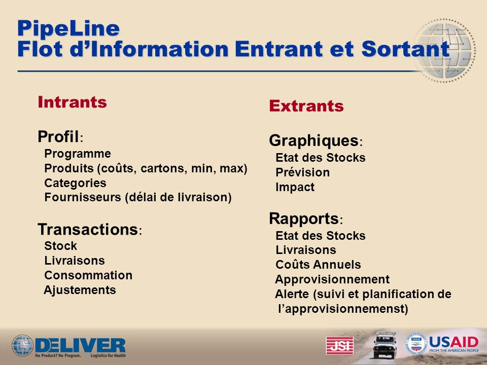 PipeLine Flot d'Information Entrant et Sortant