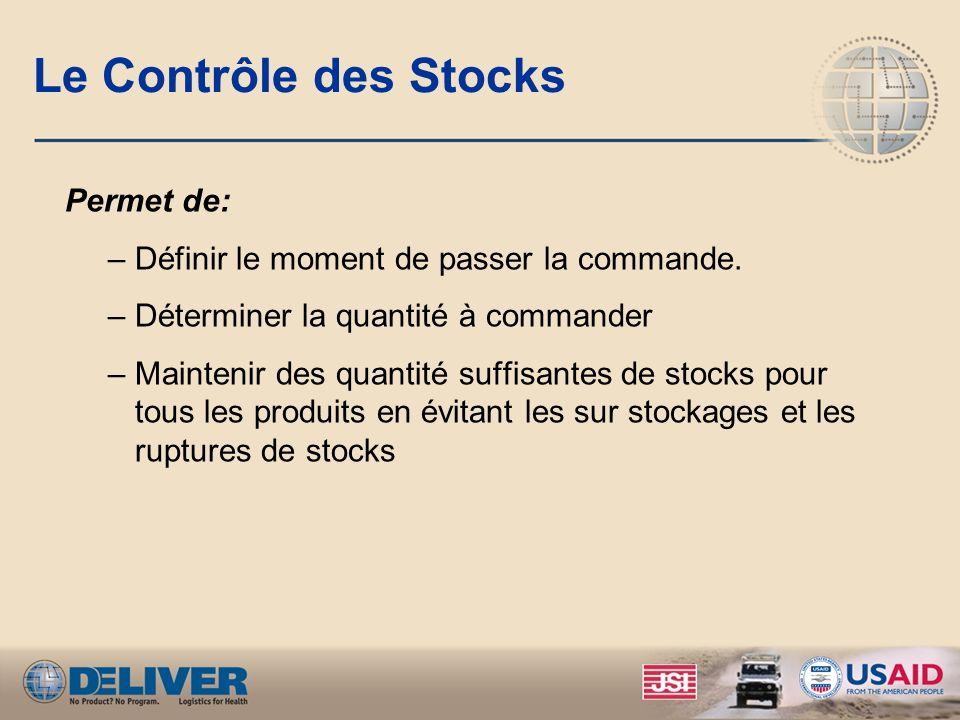 Le Contrôle des Stocks Permet de: