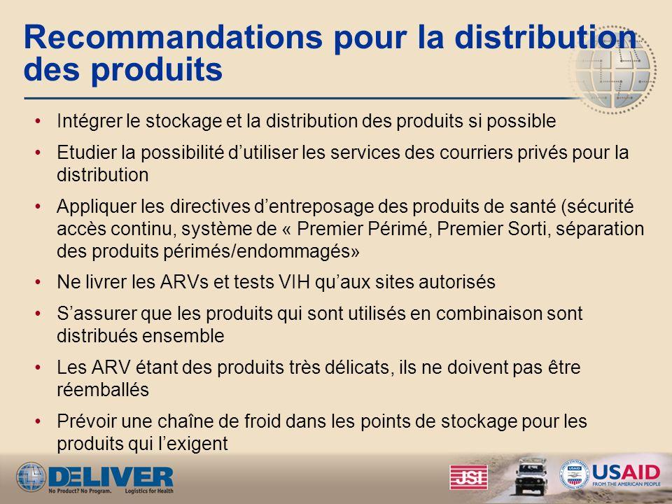 Recommandations pour la distribution des produits