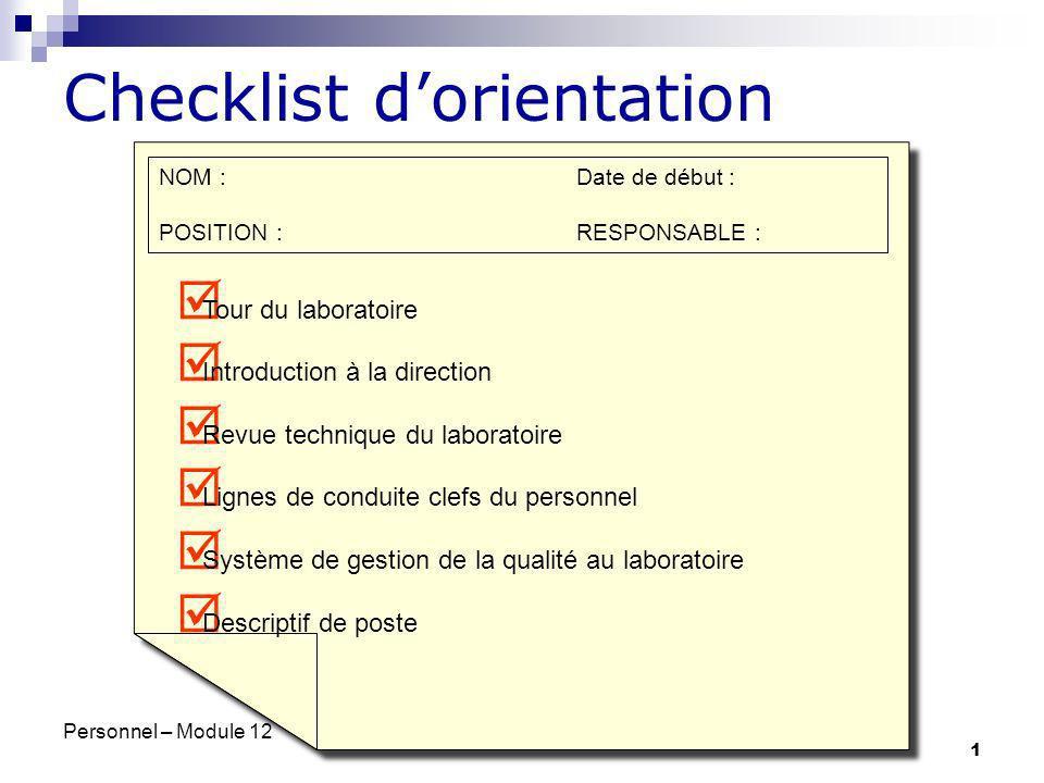 Checklist d'orientation