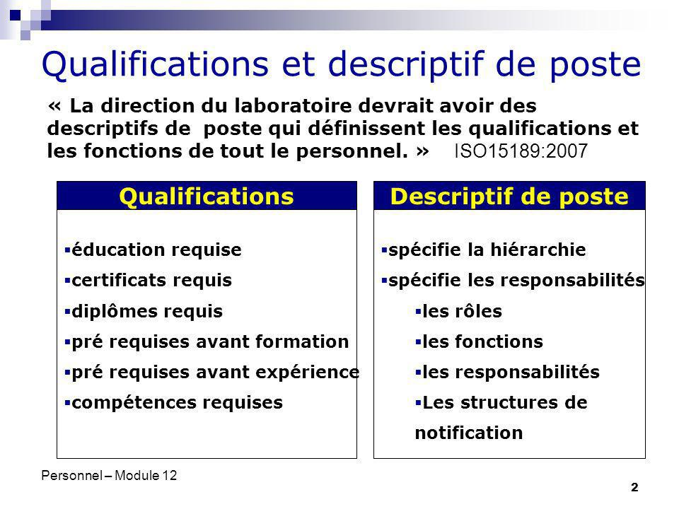 Qualifications et descriptif de poste