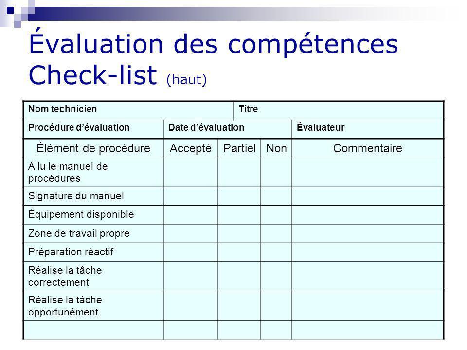Évaluation des compétences Check-list (haut)