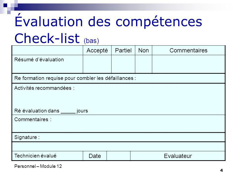 Évaluation des compétences Check-list (bas)
