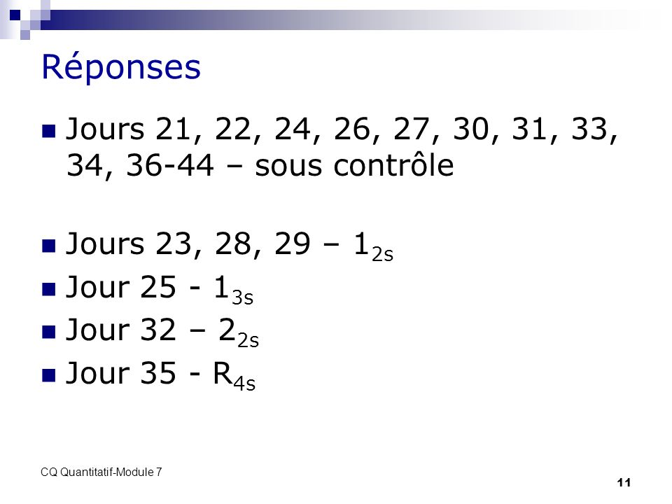 Réponses Jours 21, 22, 24, 26, 27, 30, 31, 33, 34, 36-44 – sous contrôle. Jours 23, 28, 29 – 12s. Jour 25 - 13s.
