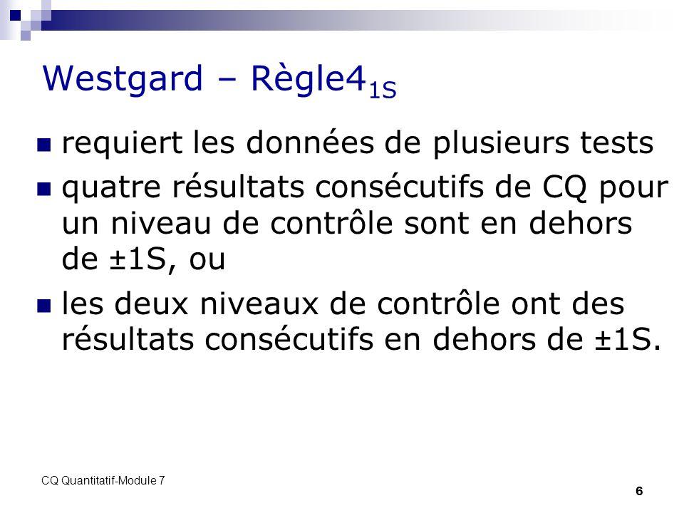 Westgard – Règle41S requiert les données de plusieurs tests