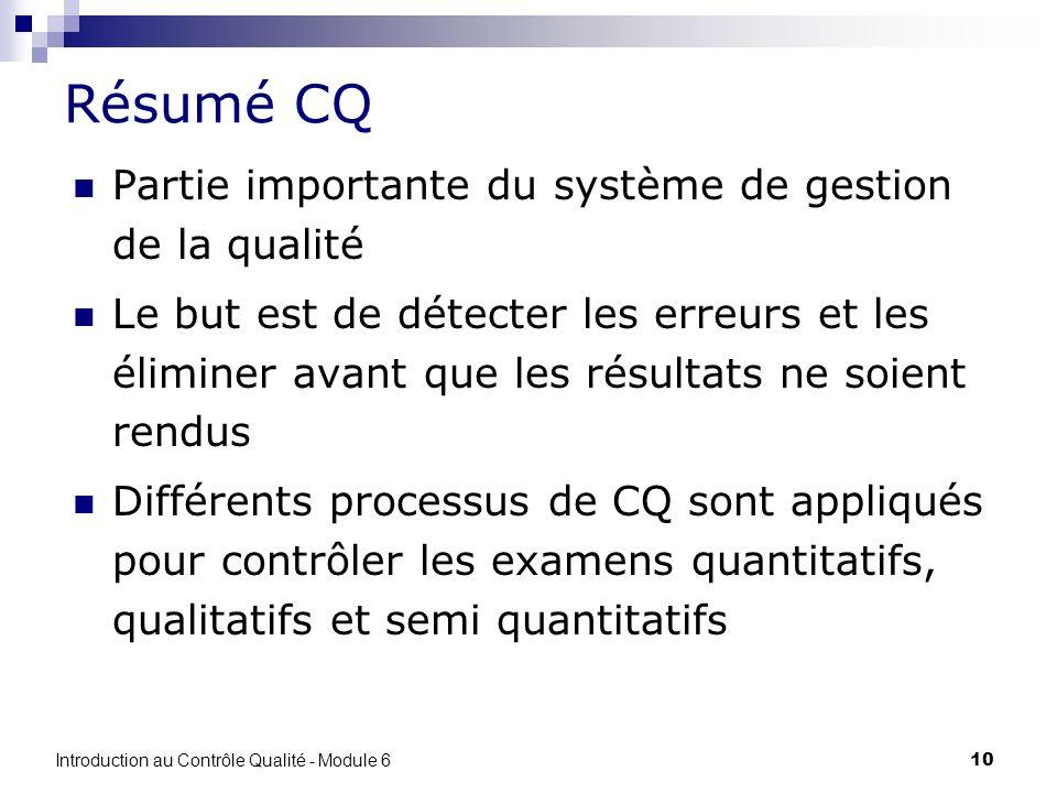 Résumé CQ Partie importante du système de gestion de la qualité