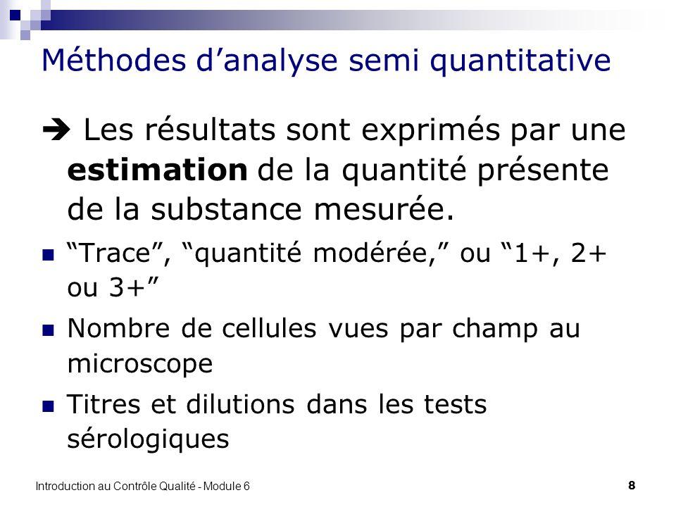 Méthodes d'analyse semi quantitative