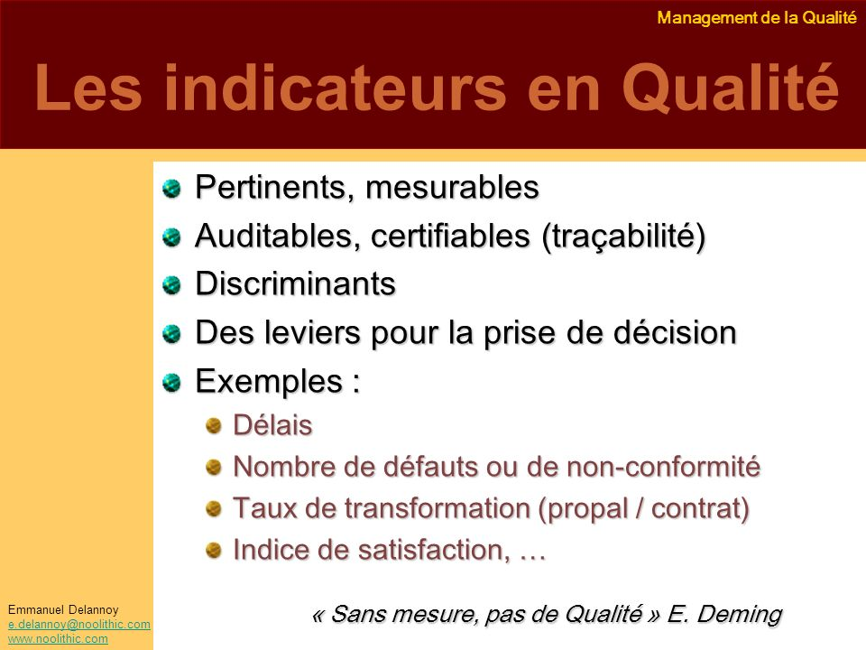 Les indicateurs en Qualité