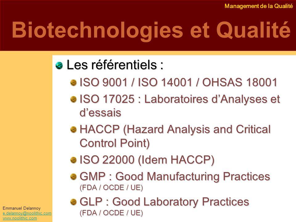 Biotechnologies et Qualité