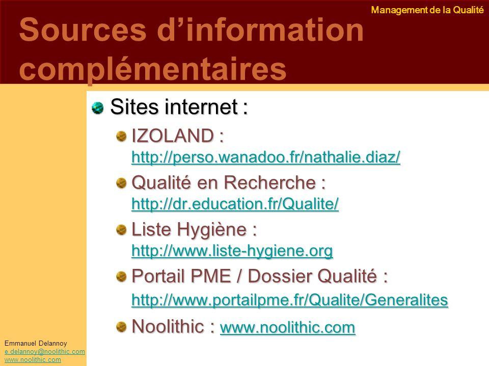 Sources d'information complémentaires