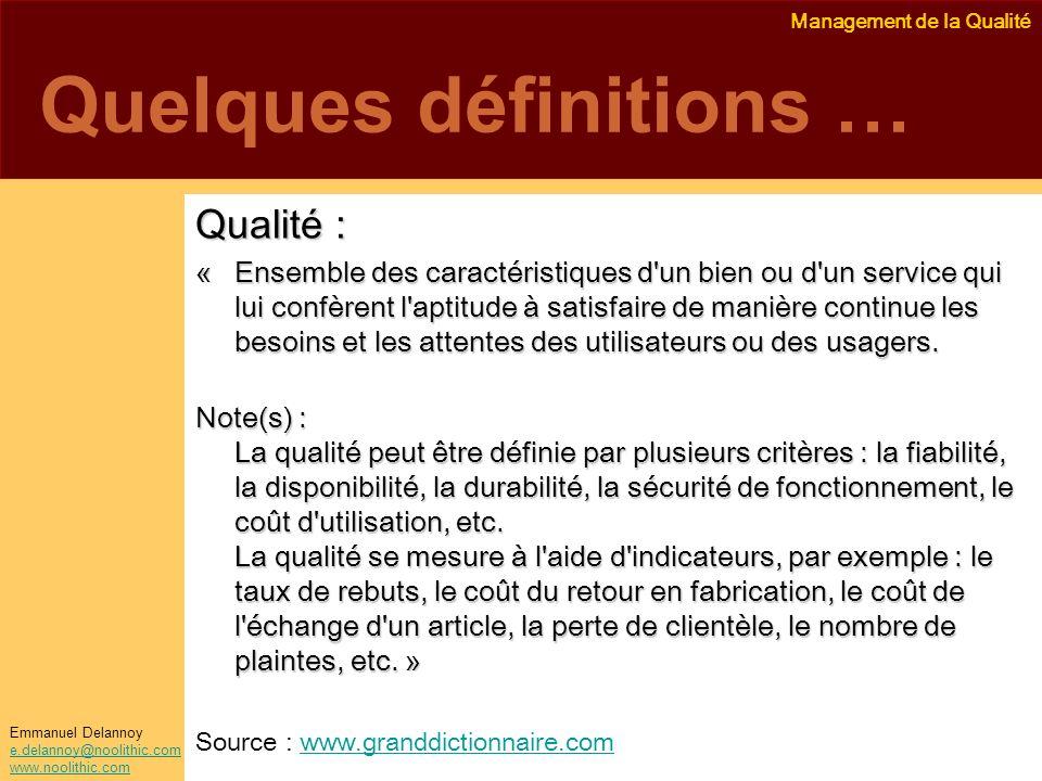 Quelques définitions …