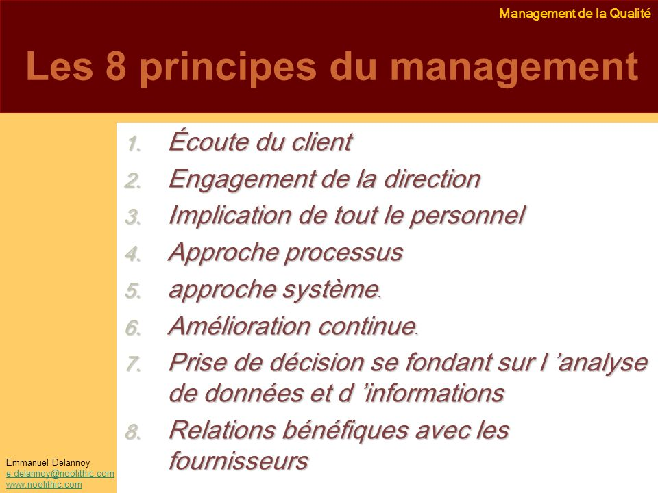 Les 8 principes du management