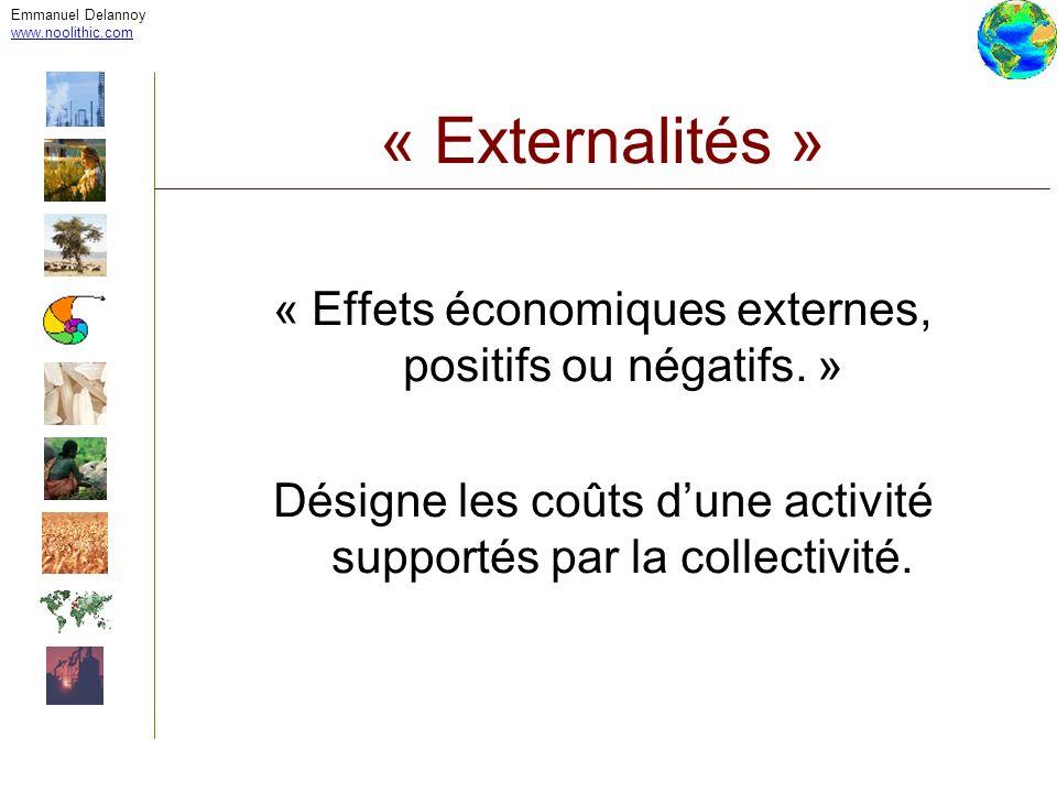 Emmanuel Delannoy www.noolithic.com. « Externalités » « Effets économiques externes, positifs ou négatifs. »