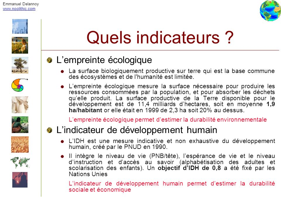 Quels indicateurs L'empreinte écologique