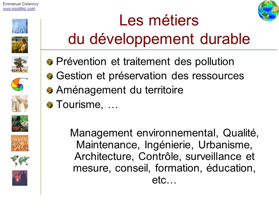 Les métiers du développement durable