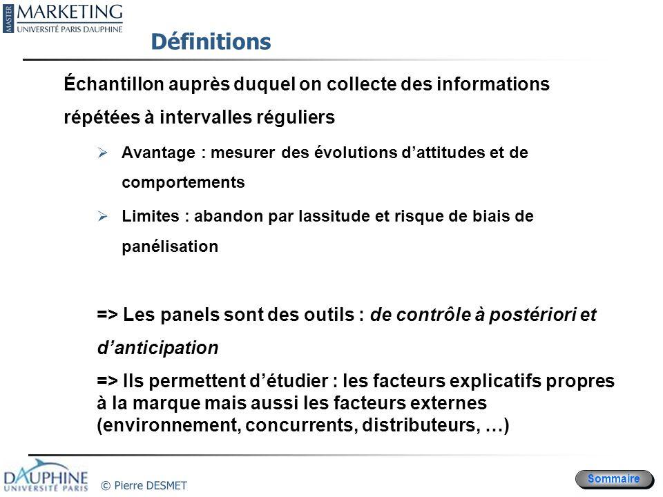 Définitions Échantillon auprès duquel on collecte des informations répétées à intervalles réguliers.