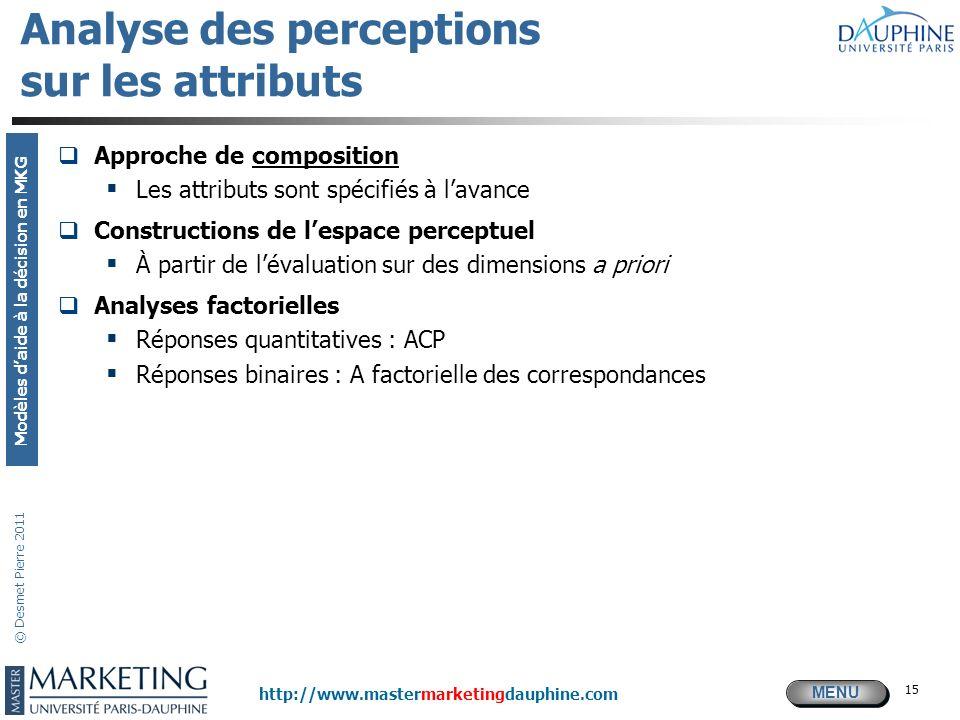 Analyse des perceptions sur les attributs
