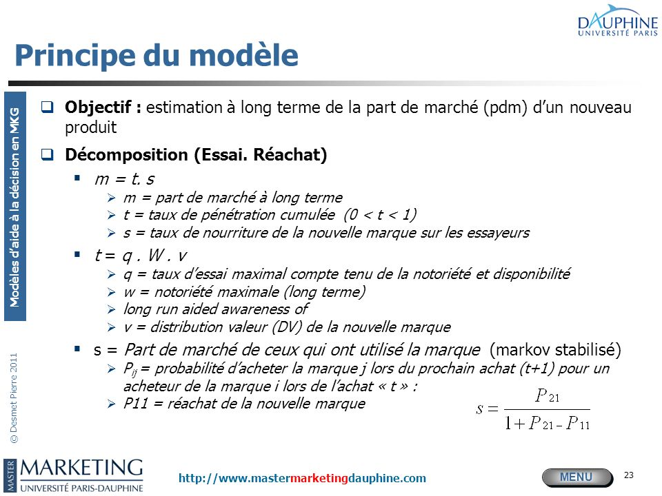 Principe du modèle Objectif : estimation à long terme de la part de marché (pdm) d'un nouveau produit.