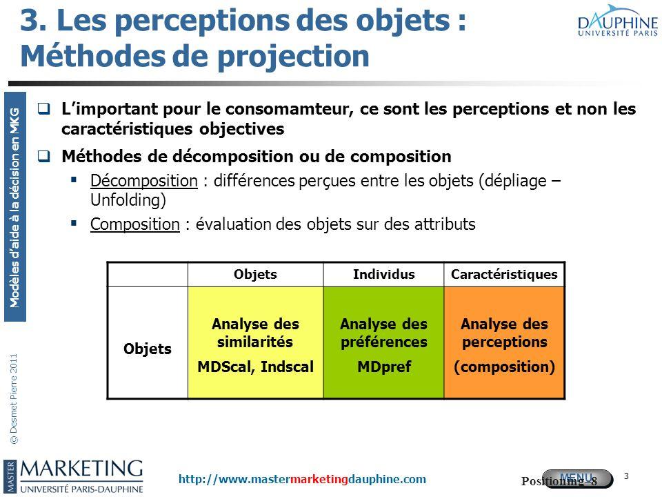 3. Les perceptions des objets : Méthodes de projection