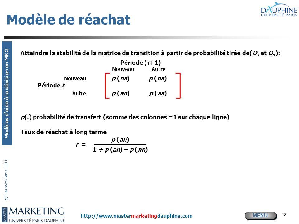 Modèle de réachat Atteindre la stabilité de la matrice de transition à partir de probabilité tirée de(O2 et O5):