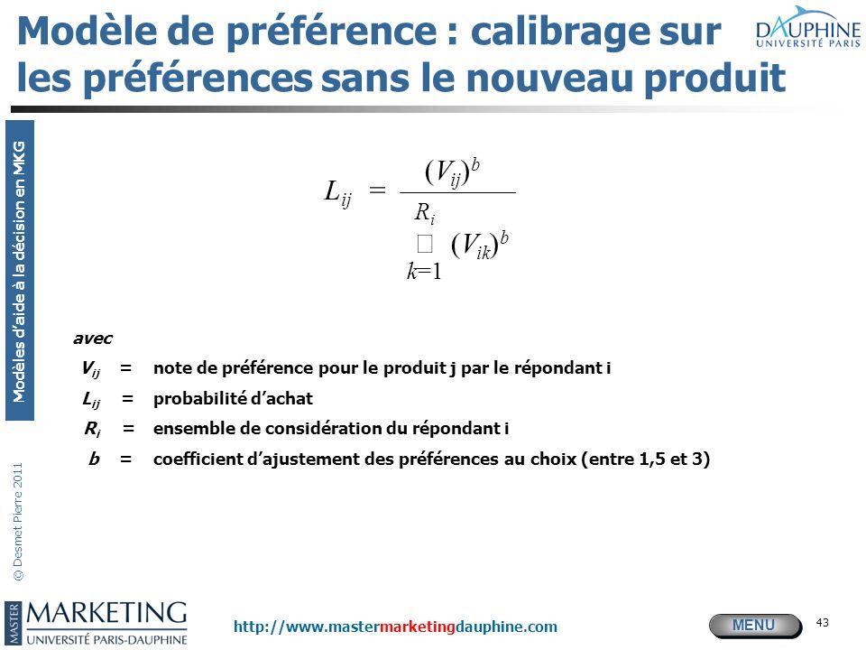 Modèle de préférence : calibrage sur les préférences sans le nouveau produit