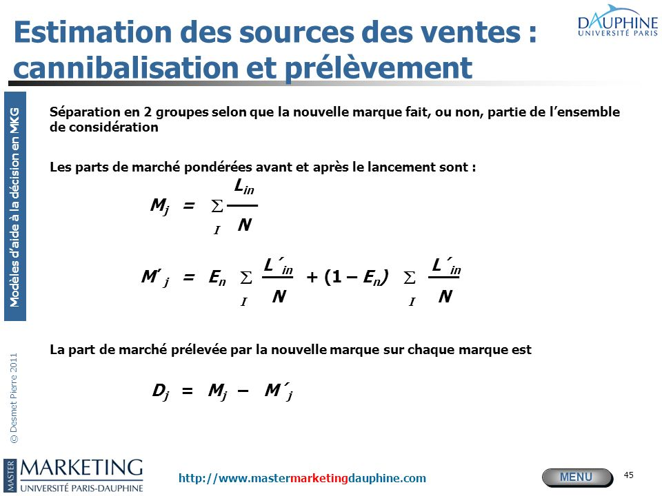 Estimation des sources des ventes : cannibalisation et prélèvement