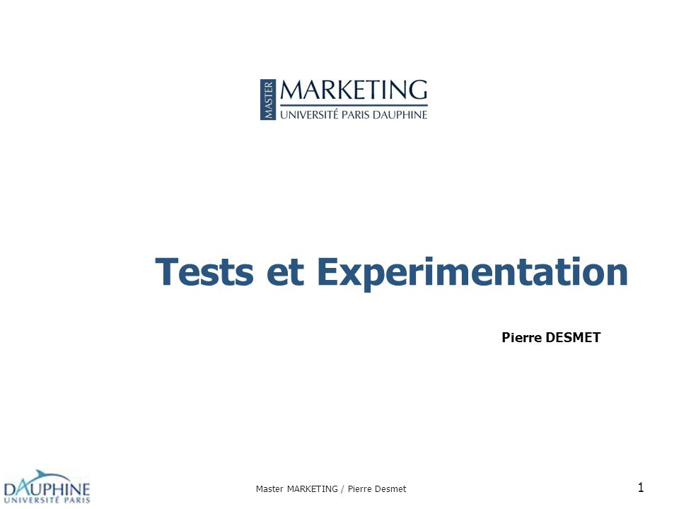 Tests et Experimentation