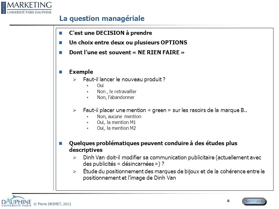 La question managériale