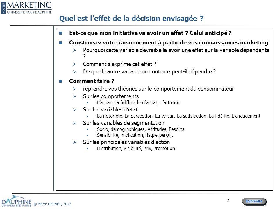 Cadre conceptuel : Par quel raisonnement la décision a-t-elle un effet sur le critère de décision