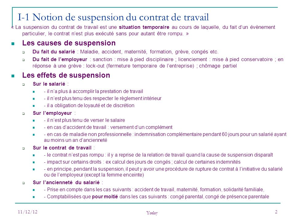 I-1 Notion de suspension du contrat de travail