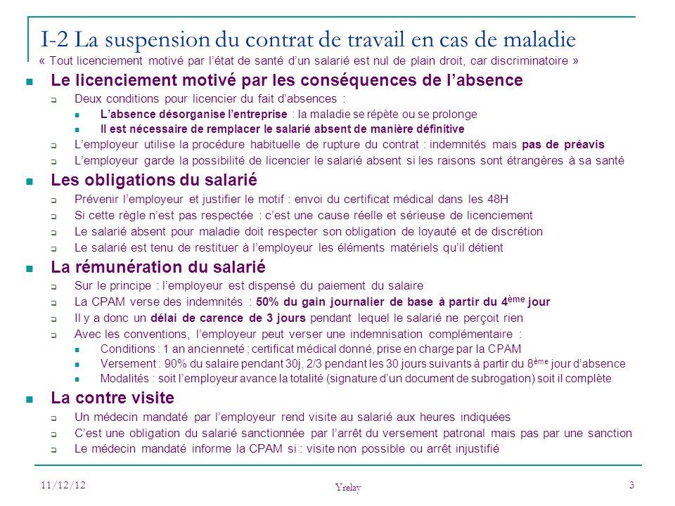 I-2 La suspension du contrat de travail en cas de maladie
