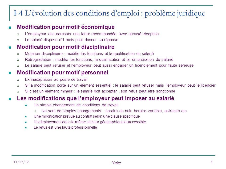 I-4 L'évolution des conditions d'emploi : problème juridique