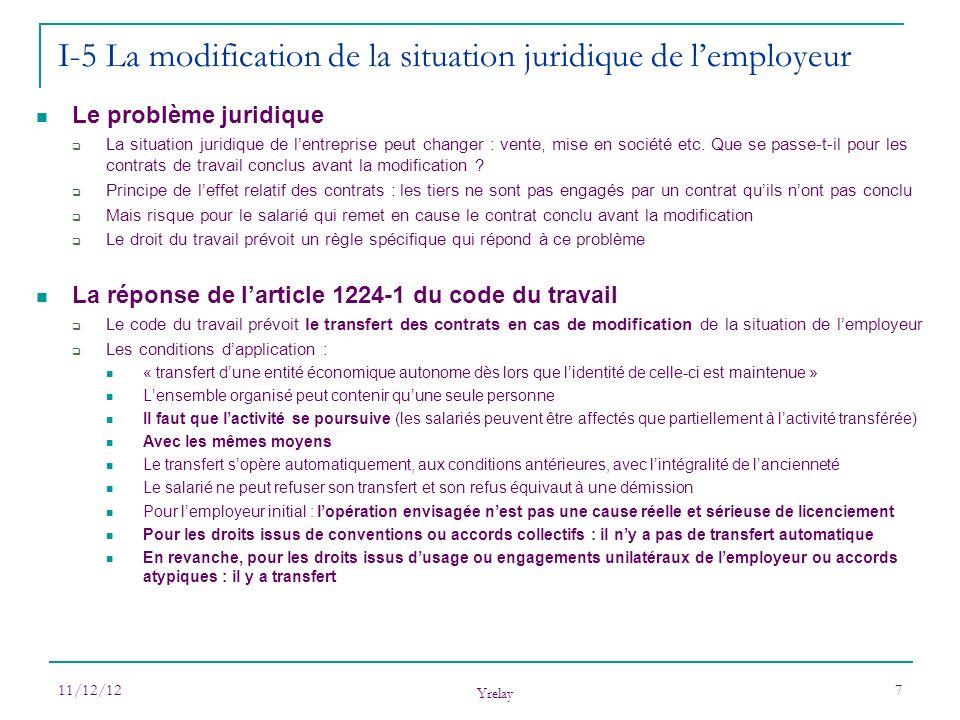 I-5 La modification de la situation juridique de l'employeur